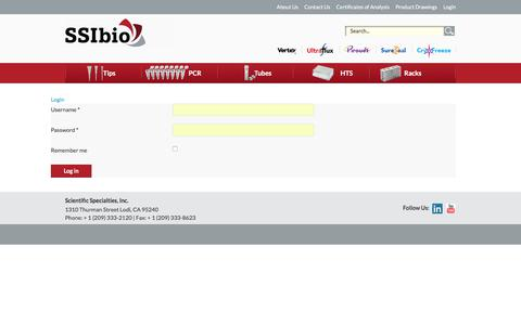 Screenshot of Login Page ssibio.com - Login - captured Oct. 6, 2017