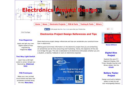Screenshot of Home Page electronics-project-design.com - Electronics Project Design Schematics and circuit diagrams - captured Sept. 2, 2016