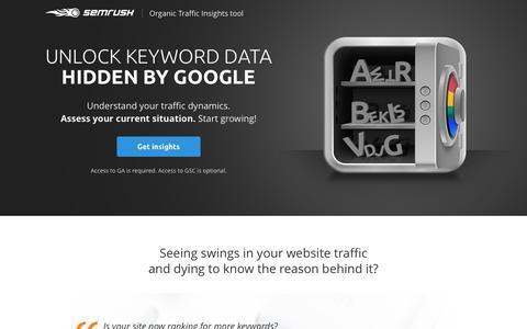 Screenshot of Landing Page semrush.com - Organic Traffic Insights tool - captured Sept. 30, 2017