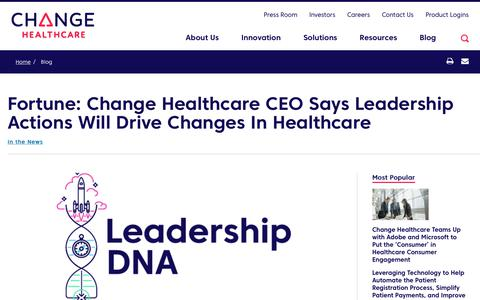 Screenshot of Team Page changehealthcare.com - Driving Changes in Healthcare with Leadership DNA | Change Healthcare - captured Feb. 20, 2020