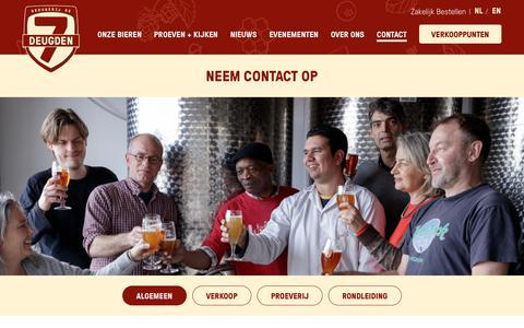 Screenshot of Contact Page de7deugden.nl - Neem contact op - Brouwerij De 7 Deugden - captured Oct. 6, 2018
