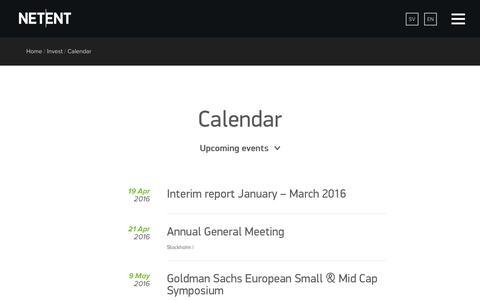 Screenshot of netent.com - Calendar | NetEnt | Better Gaming - captured March 29, 2016