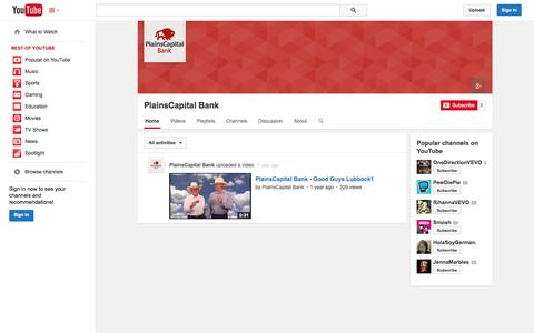 Screenshot of YouTube Page youtube.com - PlainsCapital Bank  - YouTube - captured Oct. 22, 2014