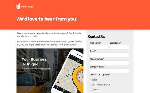 Screenshot of Contact Page upsight.com - Contact Us - Upsight - captured Oct. 21, 2015