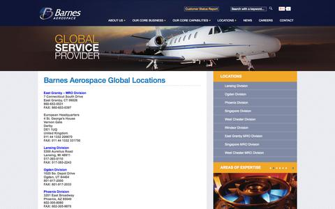 Screenshot of Locations Page barnesaero.com - Barnes Aerospace Global Locations - captured Sept. 24, 2014