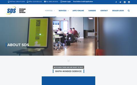 Screenshot of About Page sdealers.com - About SDS   Strategic Dealer Services - captured July 6, 2017