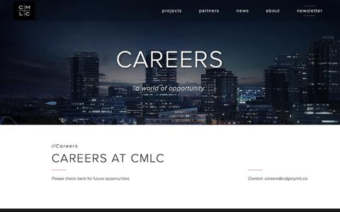 Screenshot of Jobs Page calgarymlc.ca - Careers — CMLC - captured May 31, 2016