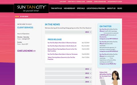 Screenshot of Press Page suntancity.com - Sun Tan City in News Articles and Press Releases - captured Oct. 31, 2015