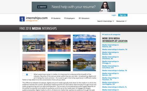 Screenshot of Press Page internships.com - 2018 Media Internships | Internships.com - captured Sept. 21, 2018