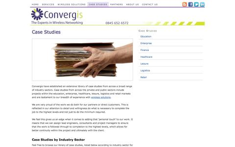 Screenshot of Case Studies Page convergis.co.uk - Market-specific Case Studies | Convergis Limited - captured Sept. 30, 2014