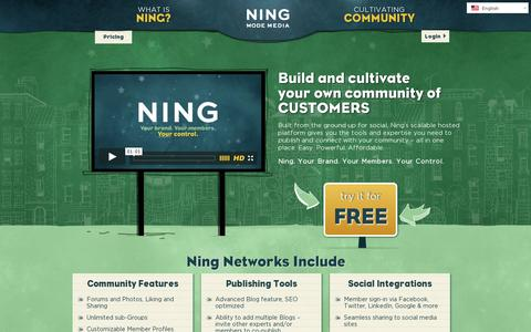 Screenshot of Home Page ning.com - Build and cultivate your own community - Ning.com - captured July 11, 2014