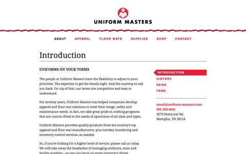 Screenshot of About Page uniform-masters.com - Introduction | Uniform Masters - captured June 18, 2017