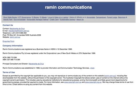 Screenshot of Privacy Page Contact Page Terms Page ramin.com.au - Contact Ramin Communications - captured Feb. 6, 2016