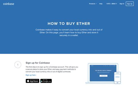 Screenshot of coinbase.com - How to Buy Ether - Coinbase - captured July 22, 2016