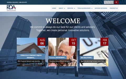 Screenshot of Home Page rdafn.com - RDA Financial Network Home - RDA Financial - captured Sept. 12, 2015