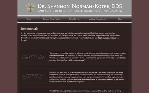 Screenshot of Testimonials Page kotreannarbordentist.com - Dr. Shannon Norman-Kotre, Ann Arbor Dentist -- Patient Testimonials - captured Dec. 6, 2016
