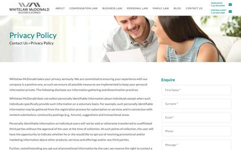 Screenshot of Privacy Page whitelawmcdonald.com.au - Privacy Policy » Whitelaw McDonald Solicitors and Attorneys - captured Oct. 20, 2018
