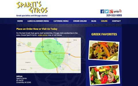Screenshot of Hours Page spartisgyros.com - Contact Sparti's Gyros - Coralville, IA | 319-512-5005 - captured May 21, 2016