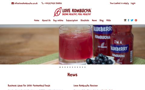 Screenshot of Press Page lovekombucha.co.uk - Love Kombucha in the News - drink healthy, feel healthy. UK brewer. - Love Kombucha - captured Sept. 11, 2017