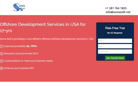 Screenshot of Landing Page sumasoft.com - Providing Offshore Software Development Services in USA for 17+ years - captured Sept. 11, 2017