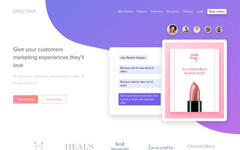 Screenshot of Home Page ometria.com - Ometria | The Customer Marketing Platform for Retailers - captured Jan. 12, 2018