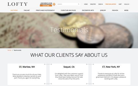Screenshot of Testimonials Page lofty.com - Testimonials  | Lofty.com - captured Oct. 28, 2014