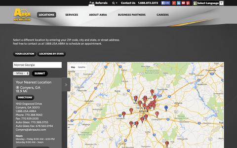 Screenshot of Locations Page abraauto.com - Locations | Auto Body and Auto Glass Windshield Repair, Paintless Dent Removal - captured Dec. 11, 2015