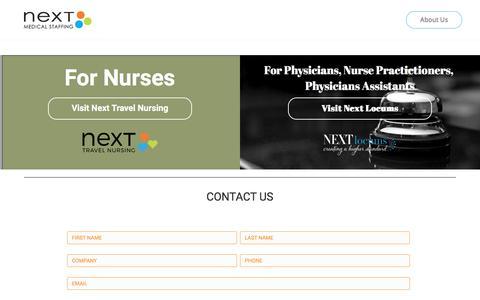 Screenshot of Home Page nextmedicalstaffing.com - Home – Next Medical Staffing - captured June 13, 2017