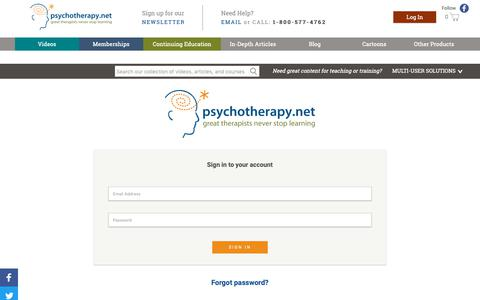Screenshot of Login Page psychotherapy.net - My Account - captured Sept. 29, 2018