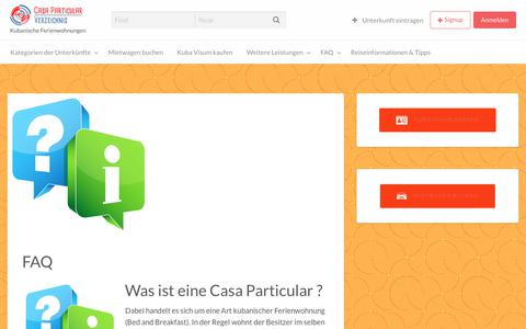 Screenshot of FAQ Page casa-particular.de - FAQ | Casa Particular Verzeichnis - captured July 17, 2017