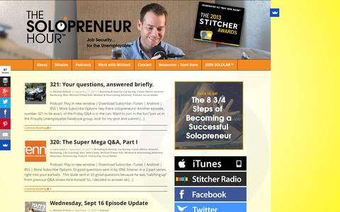 Screenshot of Home Page solopreneurhour.com - The Solopreneur Hour Podcast with Michael O'Neal - Lively Conversations, Candid Insights, Bold Advice - Lively Conversations, Candid Insights with the Proudly Unemployable - captured Sept. 19, 2015