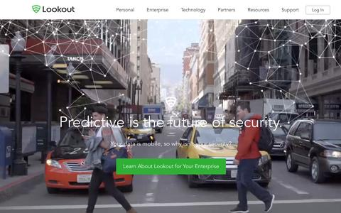 Screenshot of Home Page lookout.com - Mobile Security | Lookout, Inc. - captured Feb. 23, 2016