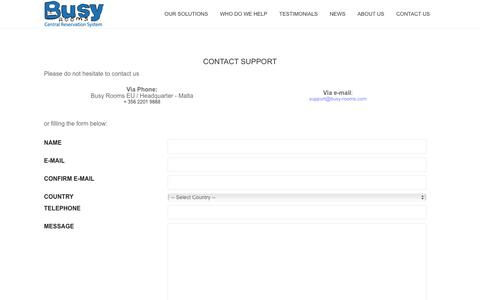 Screenshot of Support Page busy-rooms.com captured Oct. 11, 2017
