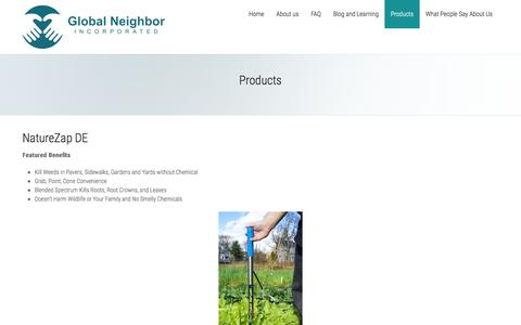 Screenshot of Products Page g-neighbor.com - Products - Global Neighbor - captured Jan. 29, 2016