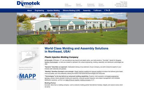Screenshot of Home Page dymotek.com - Dymotek - Plastic Injection Molding Company - captured Jan. 12, 2018