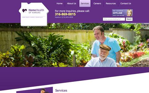 Screenshot of Services Page kansashomehealth.com - Home Health of Kansas – Home Health, Hospice Care and Private Duty Care in Wichita and Newton, Kansas  - Services - captured Nov. 2, 2014