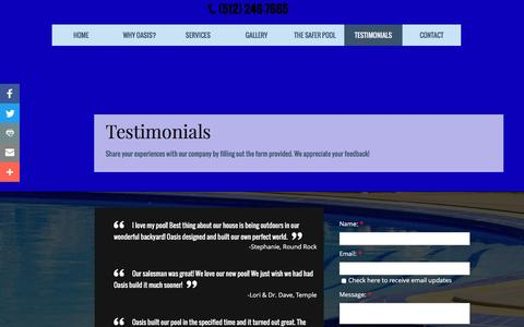 Screenshot of Testimonials Page oasispools.net - Testimonials | Oasis Pools | Round Rock, TX - captured Feb. 3, 2017