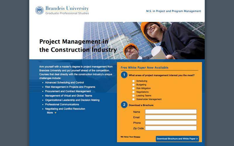 M.S. in Project and Program Management – Construction | Brandeis University