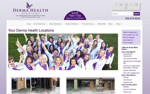 Screenshot of Locations Page dermahealthinstitute.com - Locations Archive | Derma Health Skin and Laser - captured Nov. 23, 2016