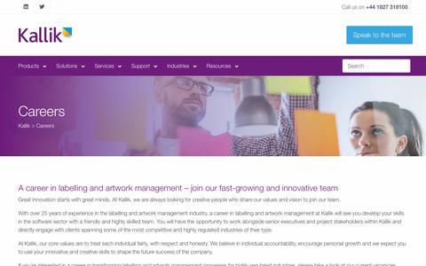 Screenshot of Jobs Page kallik.com - A Career In Labelling And Artwork Management – Join Kallik - captured Oct. 14, 2018