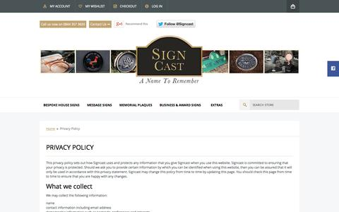 Screenshot of Privacy Page signcast.co.uk - Privacy Policy  - Signcast - captured Sept. 30, 2014