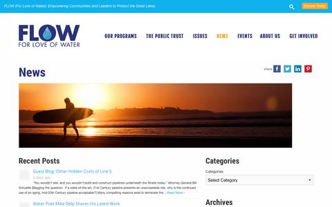 Screenshot of Press Page flowforwater.org - News - FLOW - captured Aug. 3, 2016
