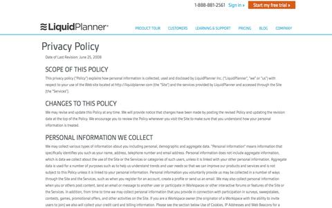 Screenshot of Privacy Page liquidplanner.com - Privacy Policy - LiquidPlanner - captured June 16, 2015