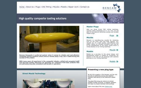 Screenshot of Home Page dencam.com - Composite tooling solutions - captured Oct. 6, 2014