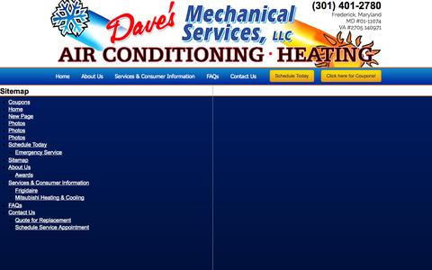 Screenshot of Site Map Page dmshvac.com - Sitemap - Dave's Mechanical Services - captured Nov. 3, 2014