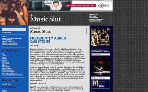 Screenshot of FAQ Page themusicslut.com - The Music Slut - Reviews, Interviews, Contests, Free MP3s - captured Oct. 9, 2014