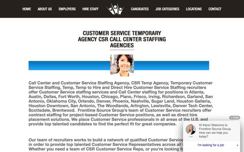 Screenshot of Support Page frontlinesourcegroup.com - Customer Service Temporary Agency | Call Center Staffing Agency - captured Aug. 31, 2018