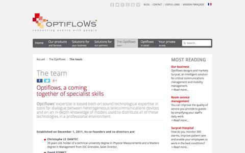 Screenshot of Team Page optiflows.com - The team - captured Oct. 7, 2014