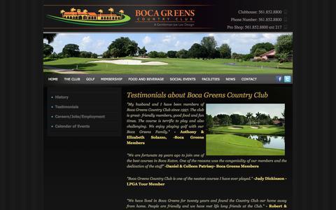 Screenshot of Testimonials Page bocagreenscountryclub.com - Boca Greens Country Club - captured Sept. 30, 2014