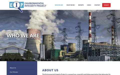 Screenshot of About Page environmentalintegrity.org - Environmental IntegrityWho We Are | Environmental Integrity - captured Aug. 14, 2017
